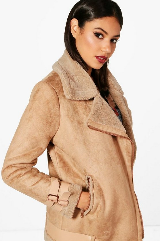 Boutique Belted Aviator Jacket