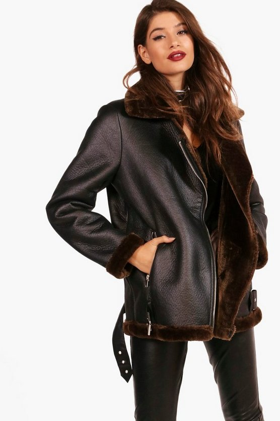 Julia Boutique Faux Fur Lined Aviator