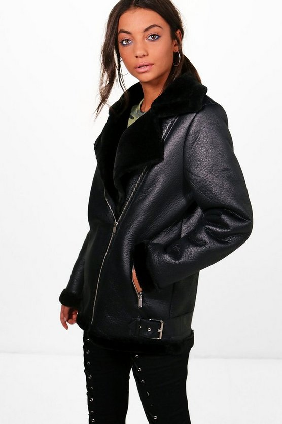 Maddison Boutique Faux Fur Trim Aviator Jacket