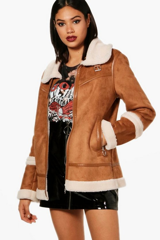 Molly Boutique Faux Sherpa Bonded Aviator Jacket