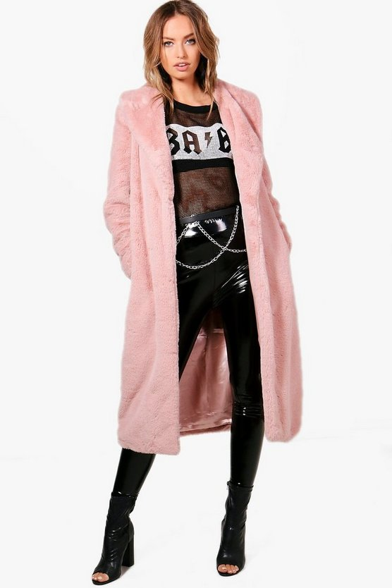 Freya Boutique Longline Faux Fur Coat