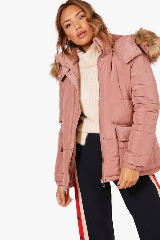 Alice Hooded Padded Coat With Faux Fur Trim