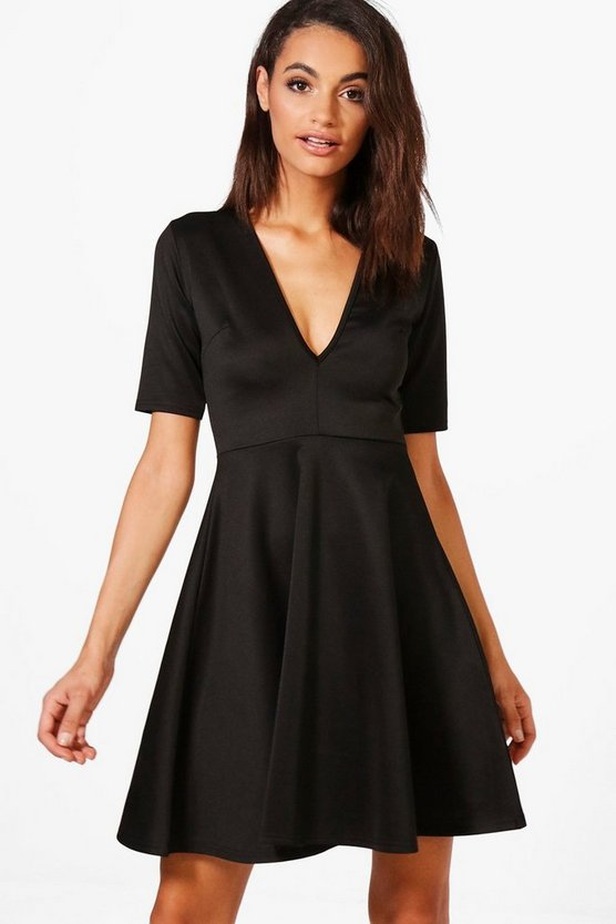 Daisy V-Neck Skater Dress