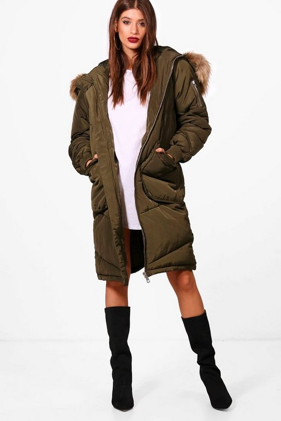 Simone Chevron Quilted Parka