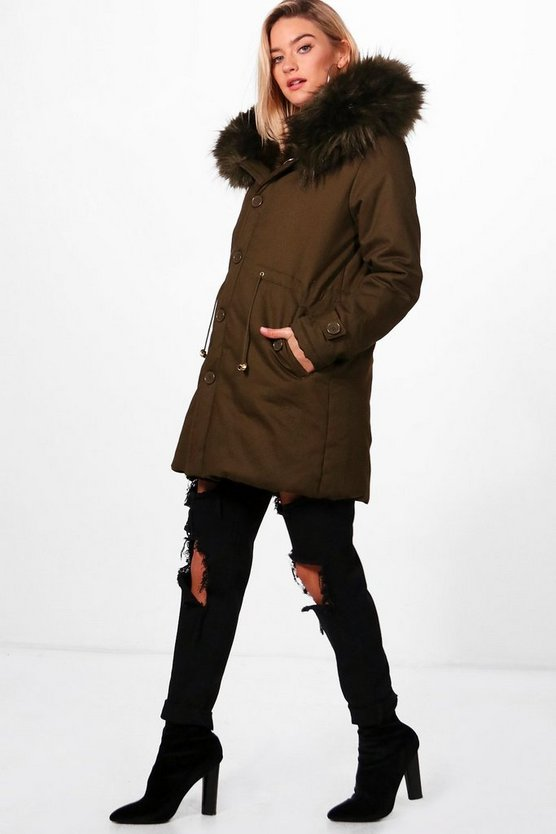 Brooke Boutique Faux Fur Trim Hood Parka