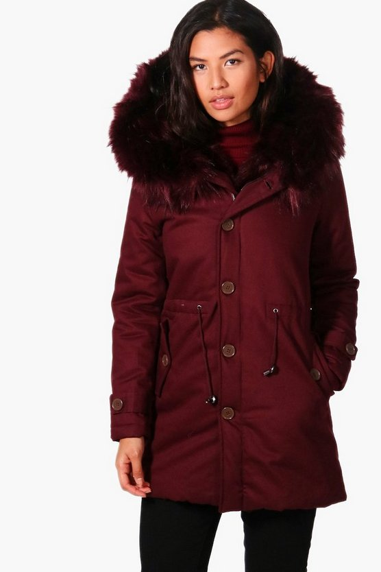 Bella Boutique Faux Fur Trim Parka