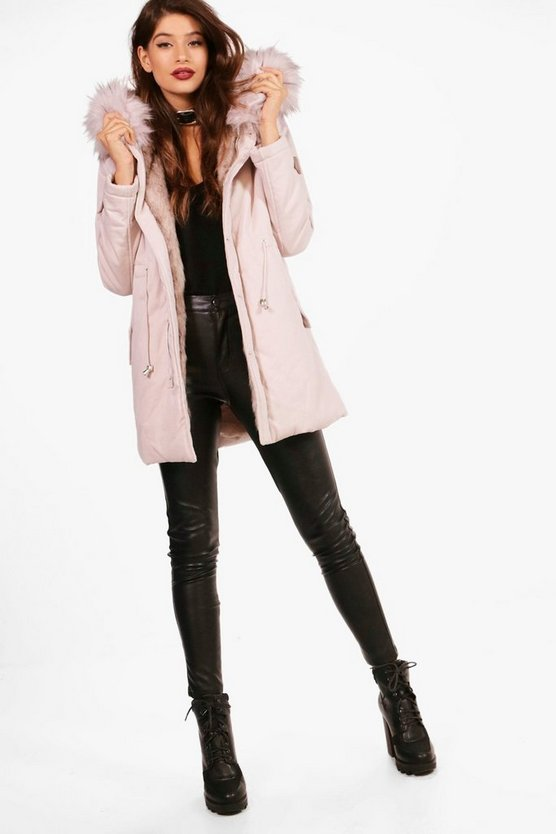 Milly Boutique Faux Fur Trim Parka