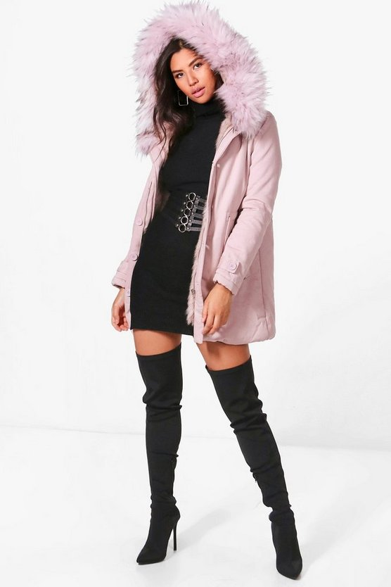 Helena Boutique Faux Fur Trim Parka