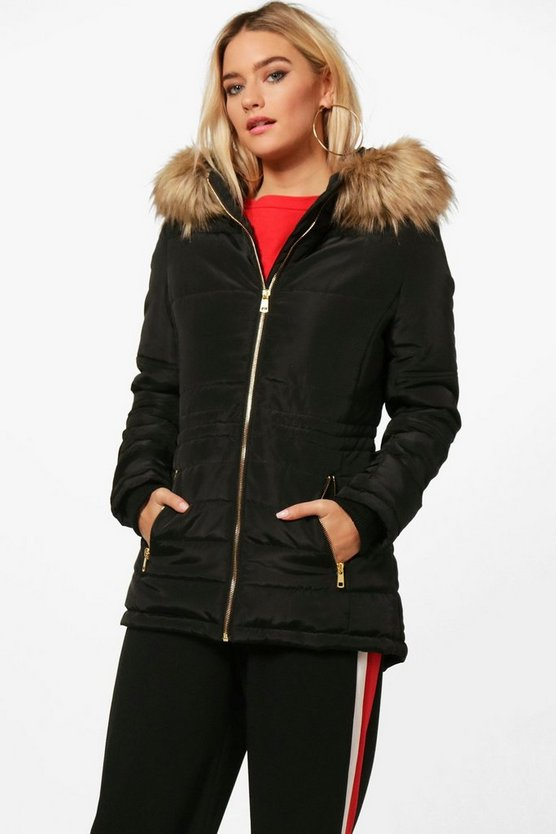 Zoe Quilted Jacket With Faux Fur Trim