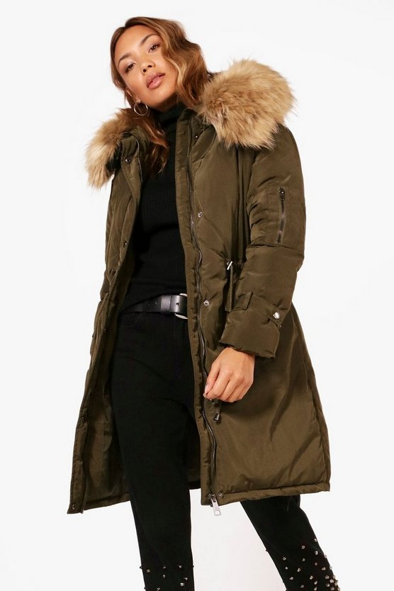 Longline Tie Cuff Parka With Faux Fur Trim