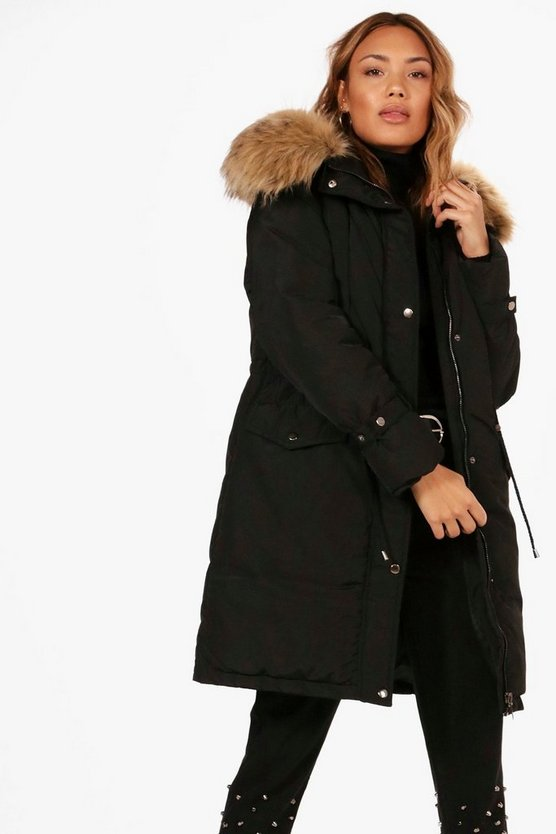 Abi Longline Tie Cuff Parka With Faux Fur Trim