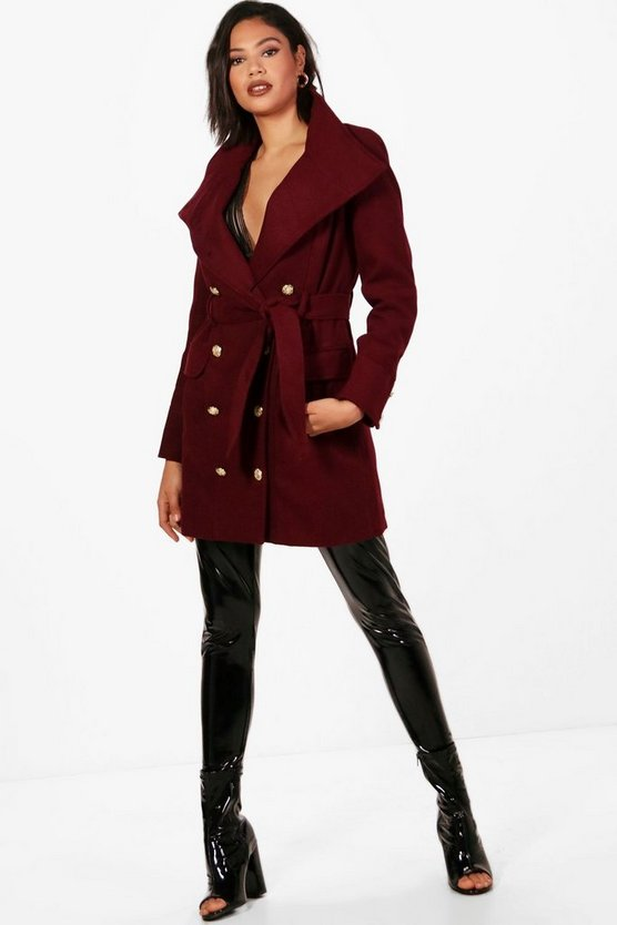 Alana Double Breasted Military Belted Coat
