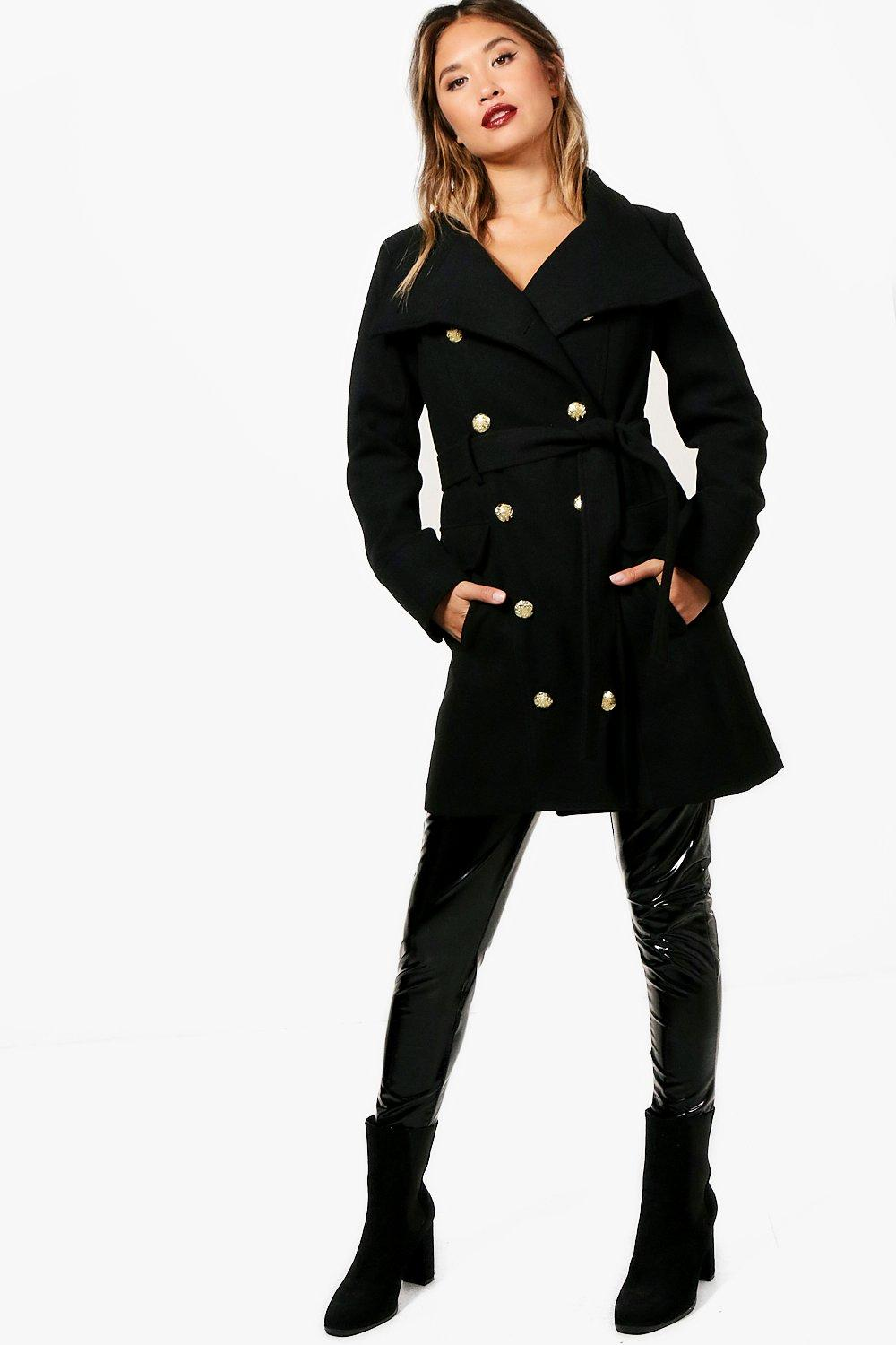 Double Breasted Military Belted Coat - black
