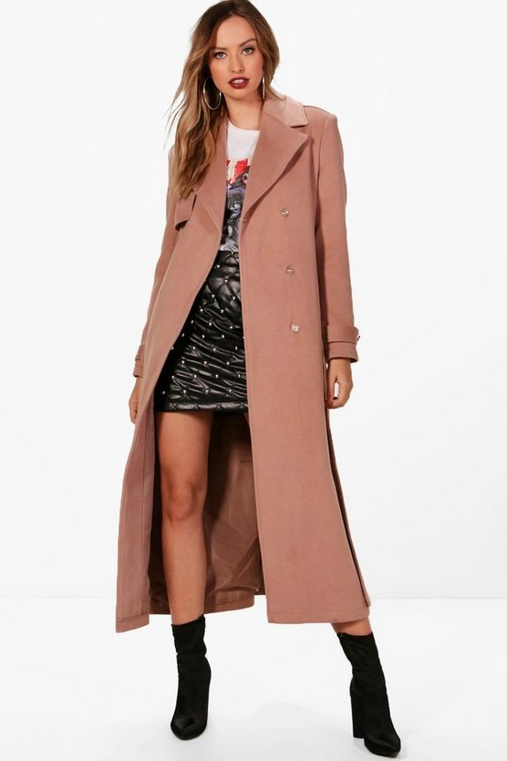 Maxi Belted Wool Look Coat