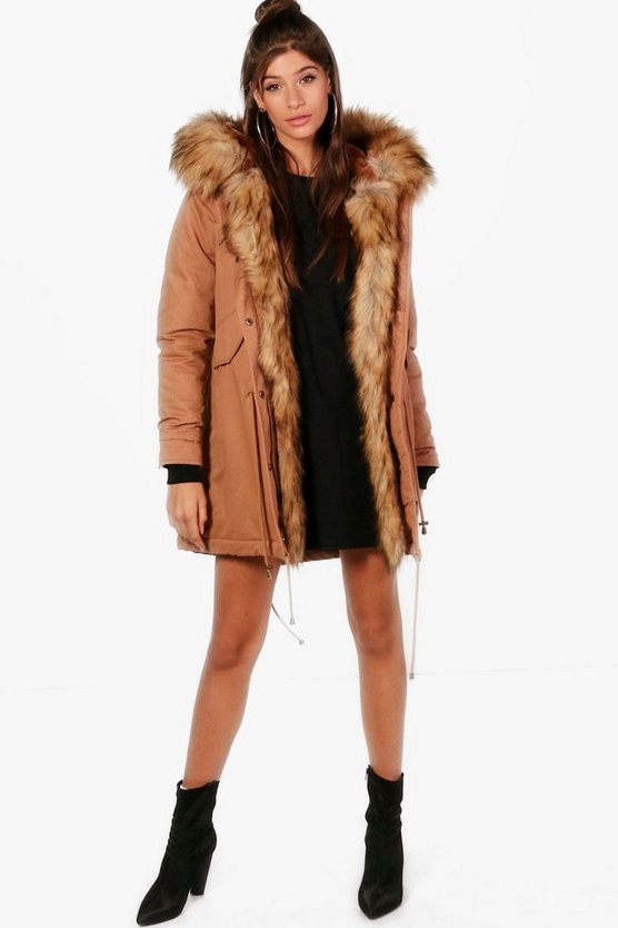 Freya Boutique Faux Fur Trim Parka