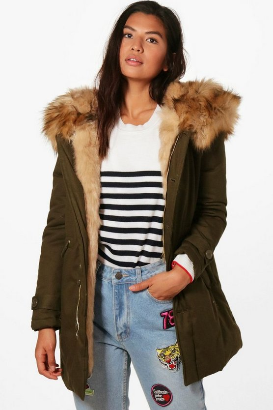 Francesca Boutique Faux Fur Trim Hood Parka
