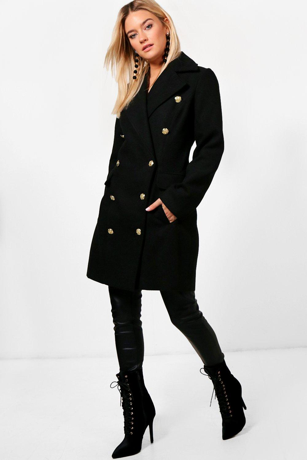Double Breasted Wool Look Military Coat - black