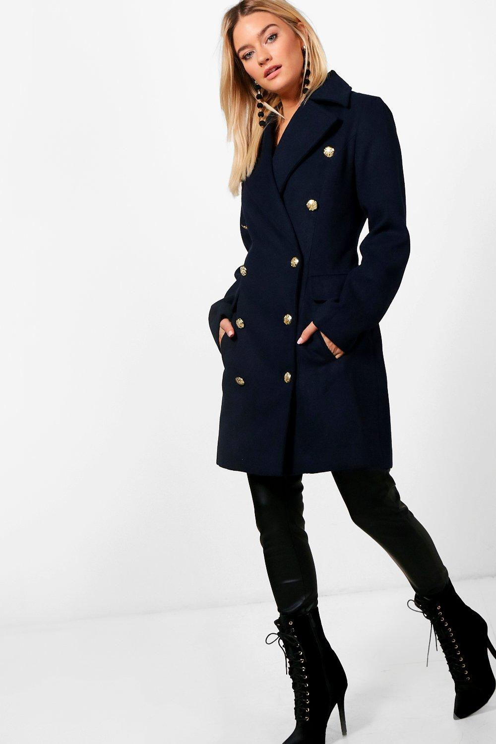 Double Breasted Wool Look Military Coat - navy