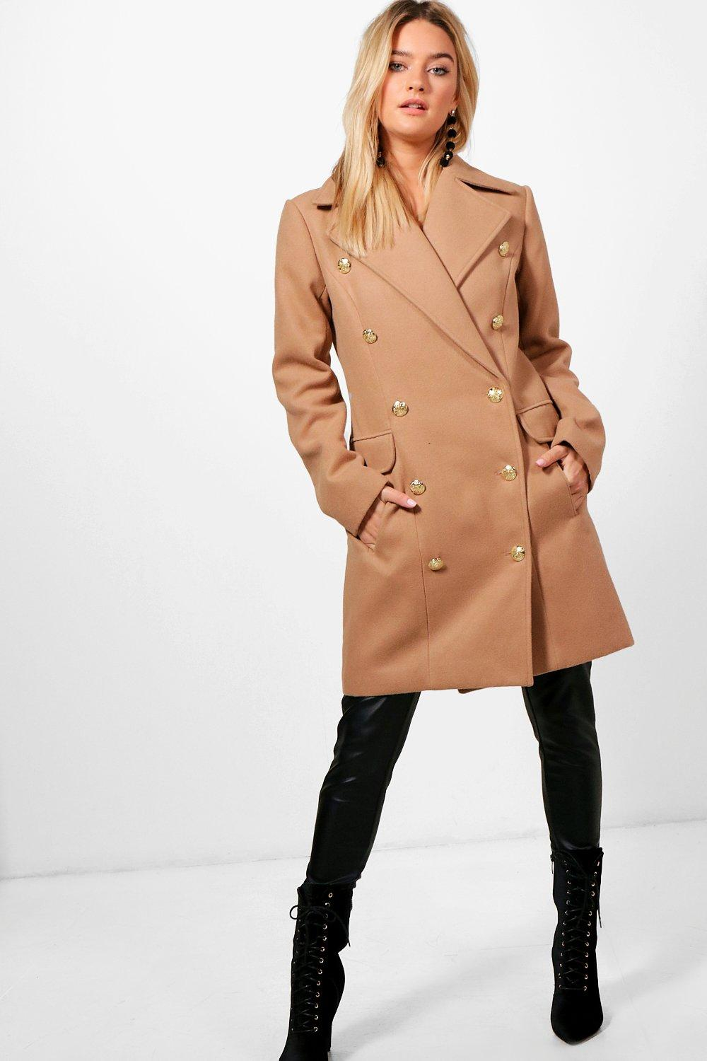 Double Breasted Wool Look Military Coat - camel