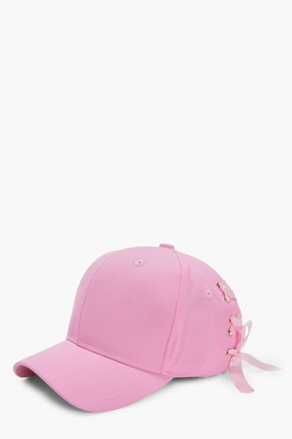 Lace Up Corset Baseball Cap - pink - Jenna Lace Up