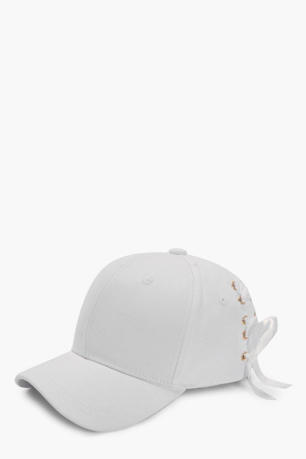 Lace Up Corset Baseball Cap - white - Jenna Lace U
