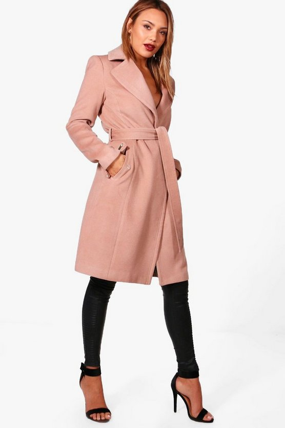 Frankie Belted Wool Look Coat With Zip Detail