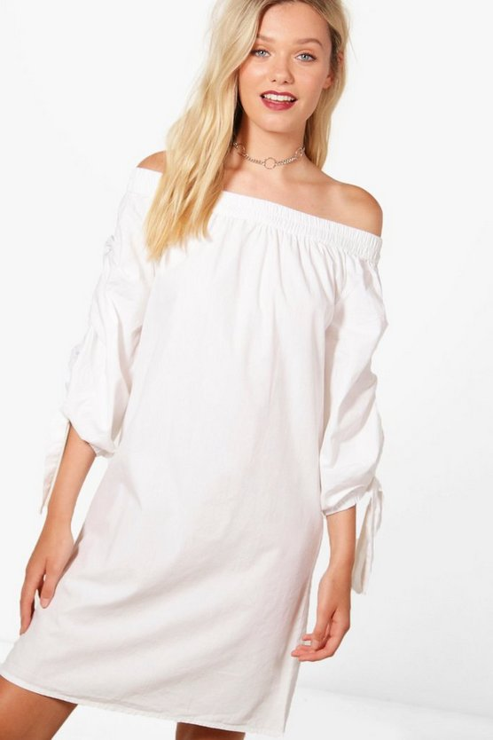 Rose Woven Off Shoulder Exaggerated Sleeve Dress