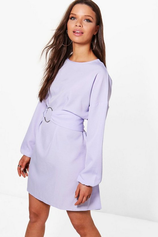Lucie O Ring Belt Woven Shift Dress