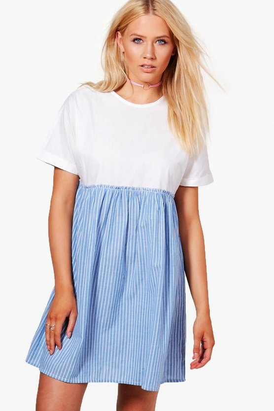 Ivy Drop Hem Stripe Smock Dress