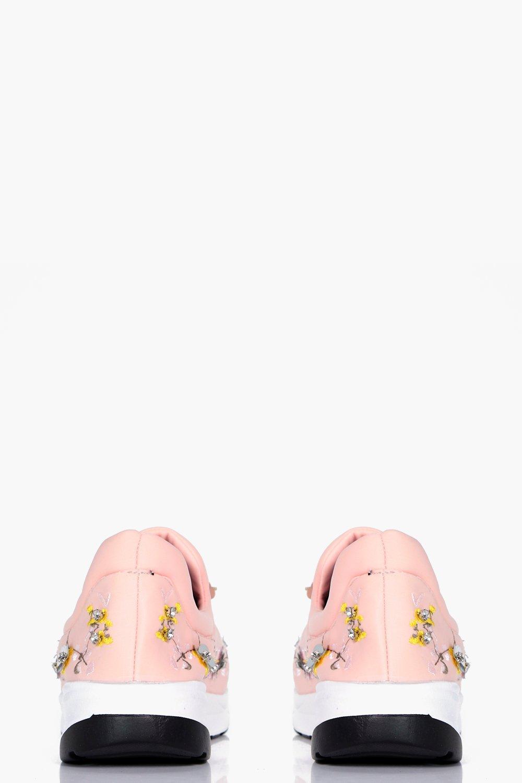 Boohoo-Zapatillas-Sin-Cierre-Con-Adornos-Florales-Bethany-para-Mujer