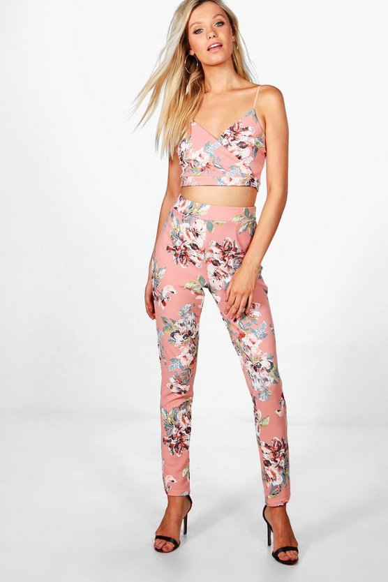 Nancy Floral Crop & Skinny Trouser Co-ord