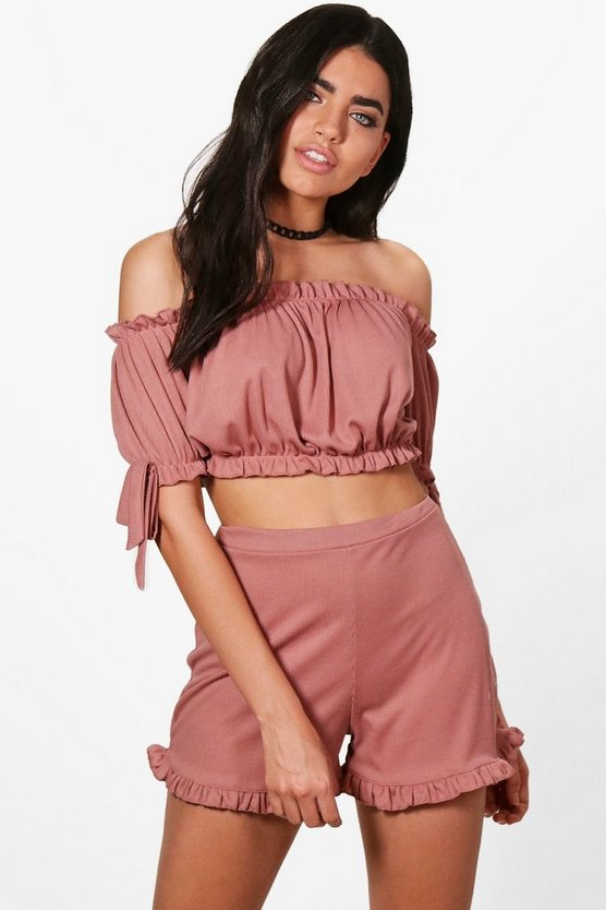 Xina Rib Off Shoulder Crop&Shorts Co-ord