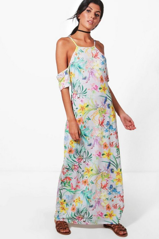 Alana Cold Shoulder Floral Maxi Dress
