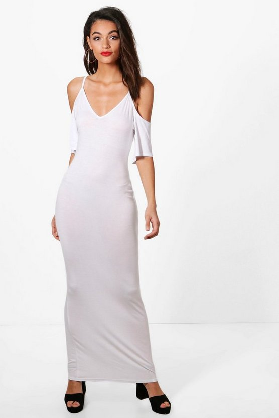 Georgina Cold Shoulder Frill Maxi Dress