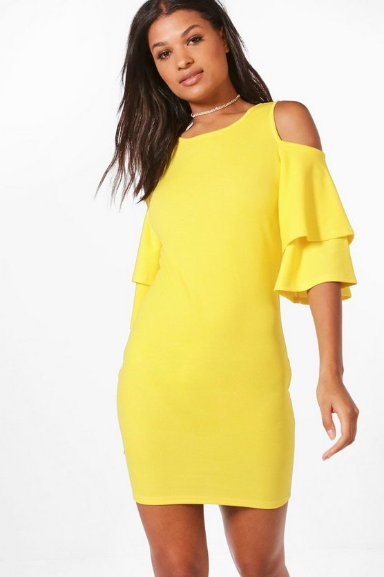 Hanna Double Layer Ruffle Cold Shoulder Bodycon Dress
