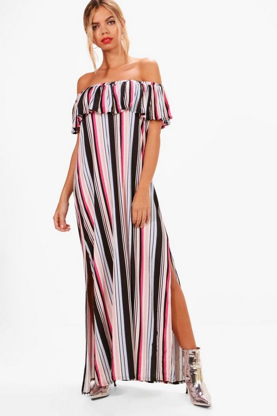 Off Shoulder Stripe Maxi Dress