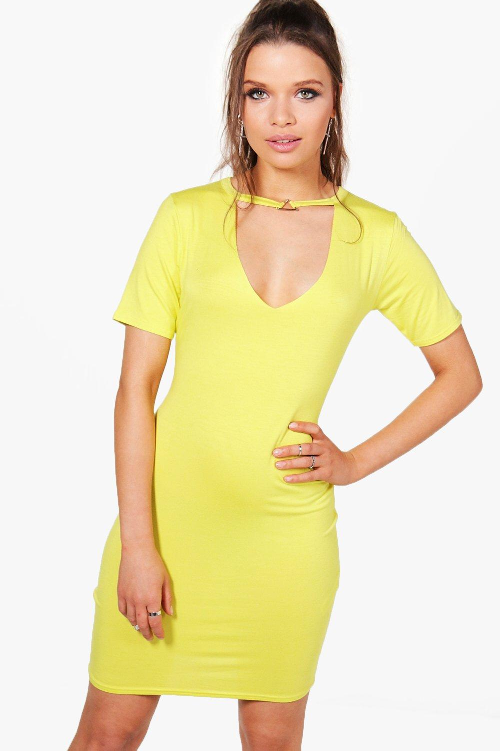 NEW-Boohoo-Womens-Maddie-Choker-Triangle-Ring-Detail-Bodycon-Dress-in-Viscose