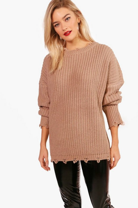 Emily Distressed Oversized Jumper