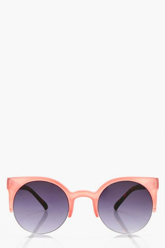 Sophie Pink Contrast Frame Round Sunglasses