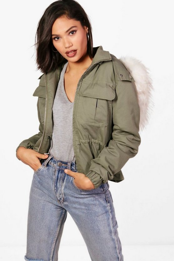 Short Parka With Faux Fur Trim