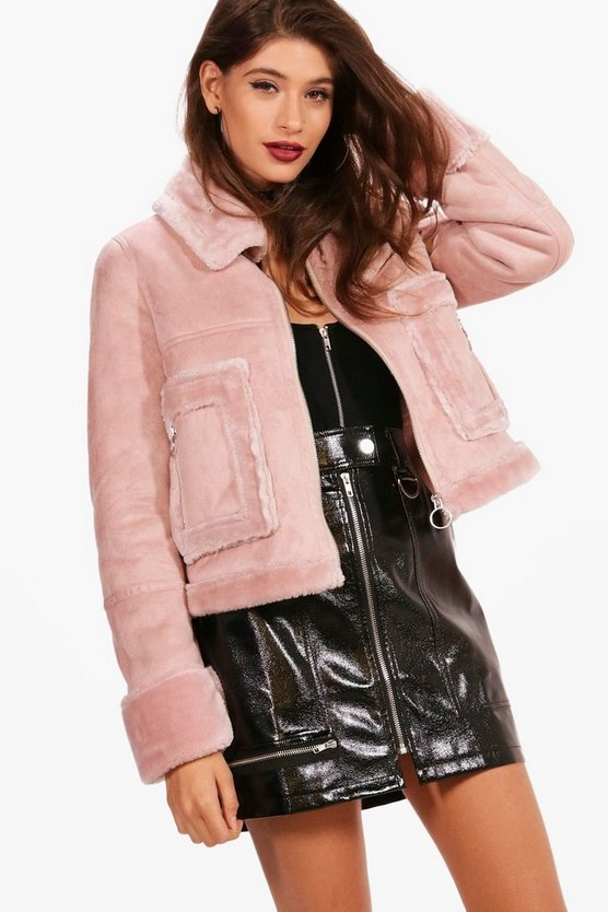 Boutique Emma Faux Fur Pocket Aviator Jacket