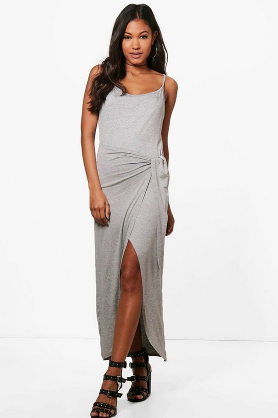 Tina Knot Front Jersey Maxi Dress