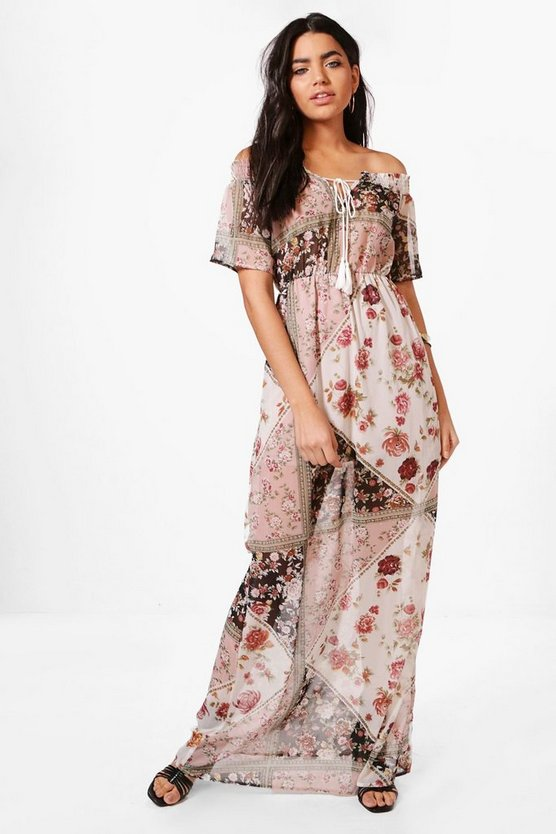 Dana Mixed Floral Print Maxi Dress