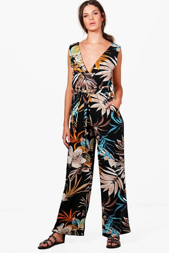 Josephine Palm Print Wide Leg Jumpsuit