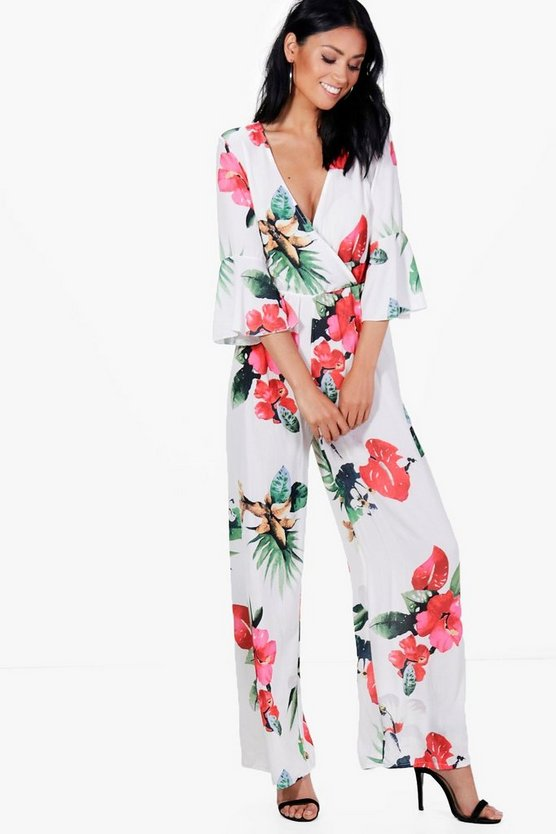 Emery Hibiscus Print Wide Leg Wrap Jumpsuit