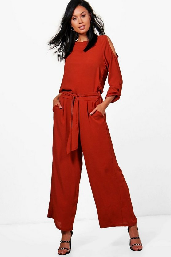 Delilah Split Shoulder Tie Belt Wide Leg Jumpsuit