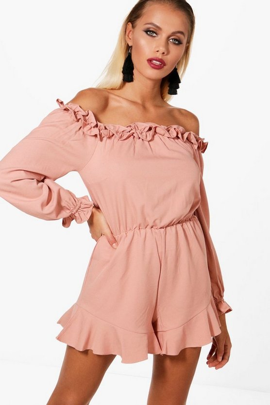 Jayla Ruffle Off The Shoulder Playsuit