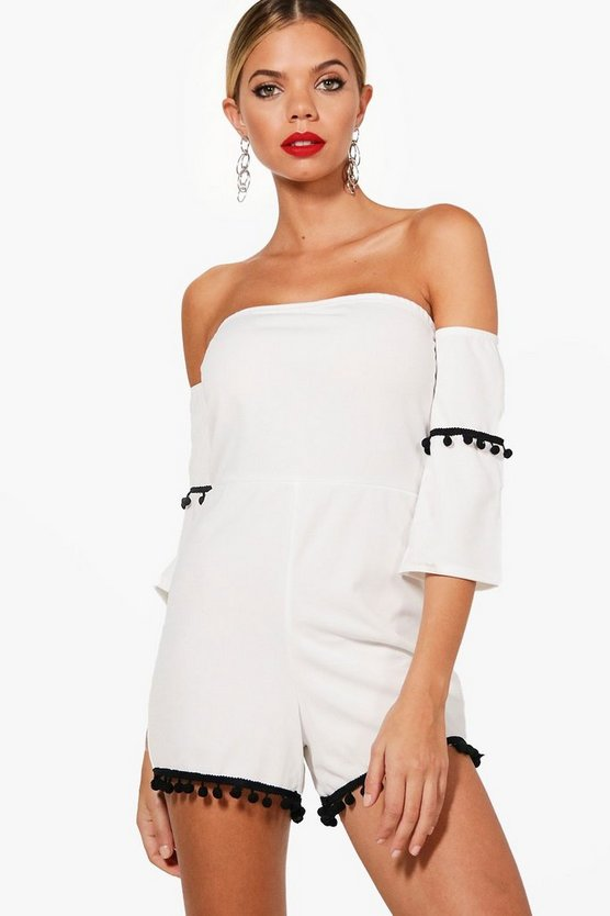 Pom Pom Off The Shoulder Playsuit