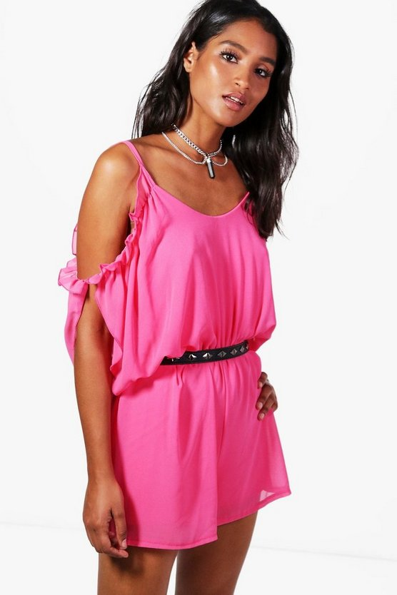 Emma Ruffle Cold Shoulder Playsuit