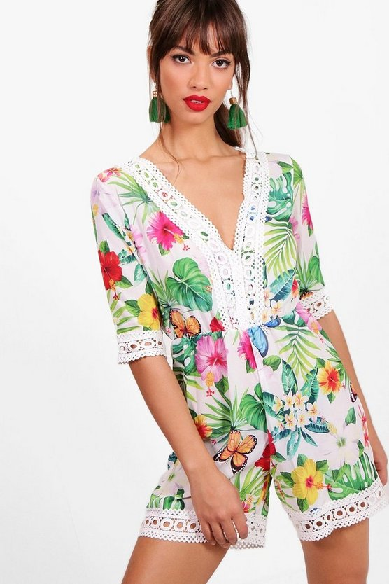 Floral Print Crochet Trim Playsuit